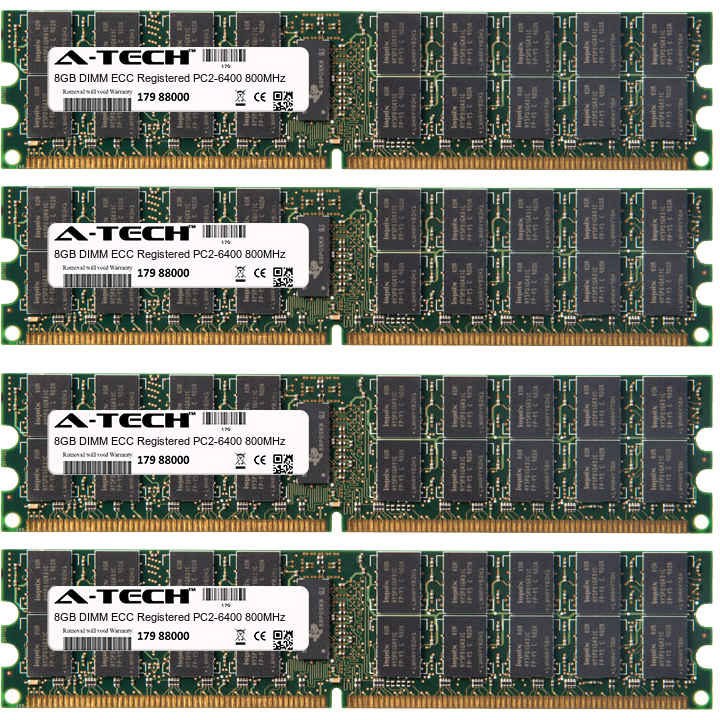 32GB Kit 4x 8GB Modules PC2-6400 800MHz ECC Registered DDR2 DIMM Server 240-pin Memory Ram