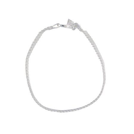 Silver Plated Flat Woven Mesh Bismark Chain Womens Bracelet 7.5