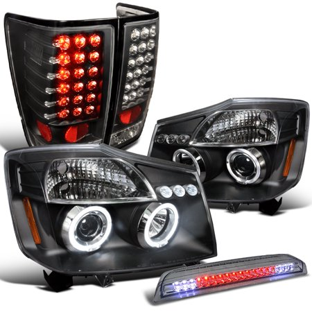 Spec-D Tuning For 2004-2015 Nissan Titan Black Halo Projector Headlights + Led Tail Lamp + 3Rd Rear Brake Light 2004 2005 2006 2007 2008 2009 2010 2011 2012 2015