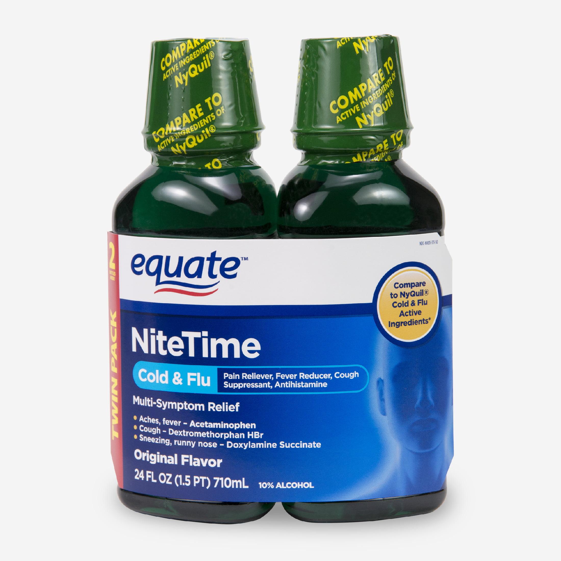 Equate Nitetime Original Flavor Cold & Flu Relief, 12 fl oz, 2 ct