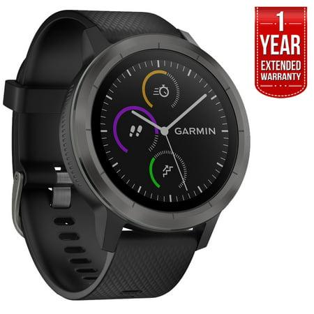 Gunmetal Heart - Garmin 010-01769-11 Vivoactive 3 GPS Fitness Smartwatch (Black & Gunmetal) + 1 year Extended Warranty
