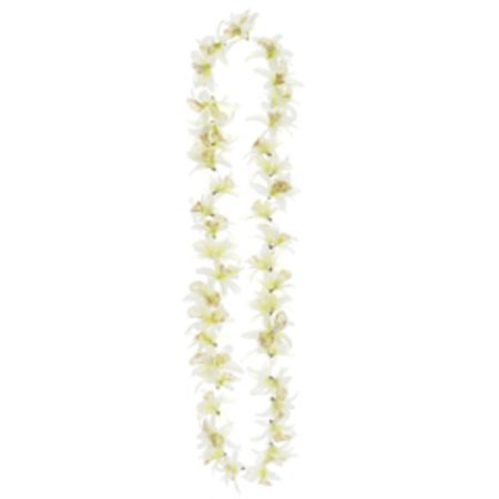 Club Pack of 24 Artificial Cream Hawaiian Dendrobium Orchid Silk Flower Leis 23