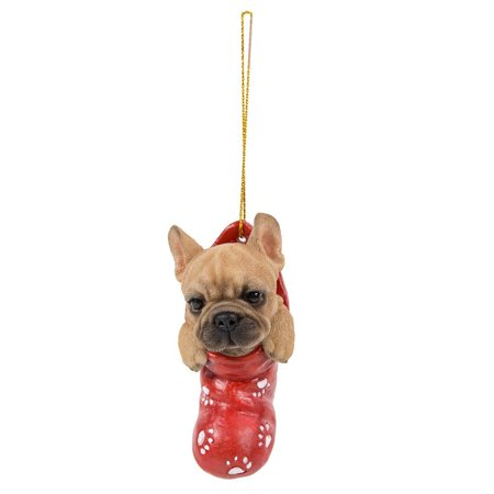 French Bulldog In Holiday Sock Decorative Holiday Festive Christmas Hanging Ornament