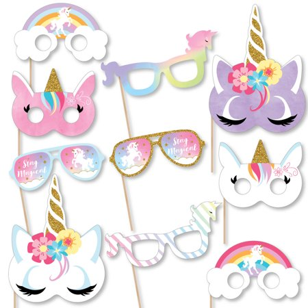 Rainbow Unicorn Glasses & Masks - Paper Card Stock Unicorn Baby Shower or Birthday Party Photo Booth Props Kit -10 Ct - Props Synonym
