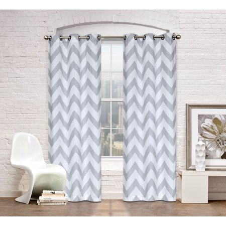 Metallic Silver Collection (Regal Home Collection 2 Pack Metallic Chevron Grommet Top Window Curtain Panels - Silver/Gray)