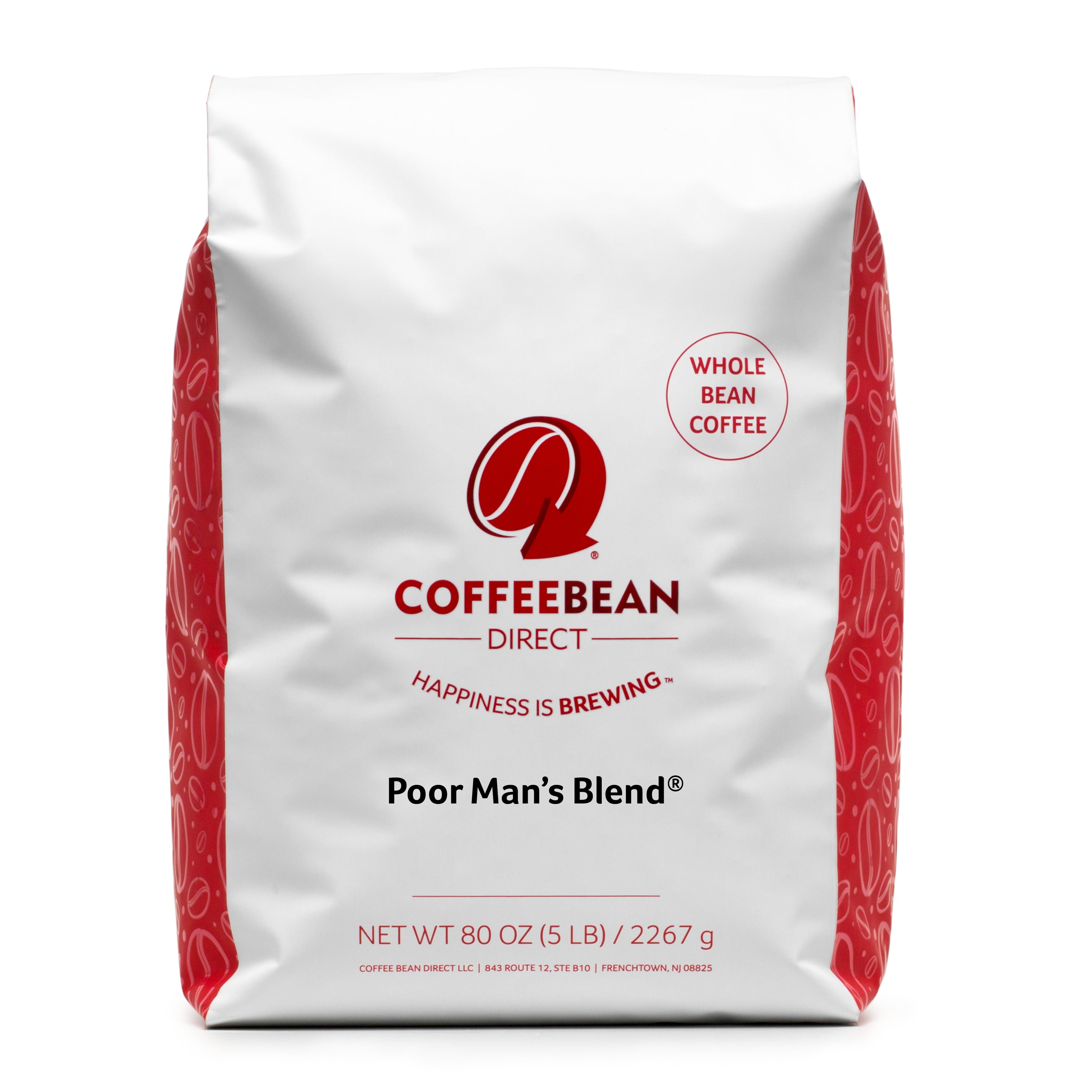 Coffee Bean Direct Whole Bean Coffee, Poor Man's Blend, 80 Oz