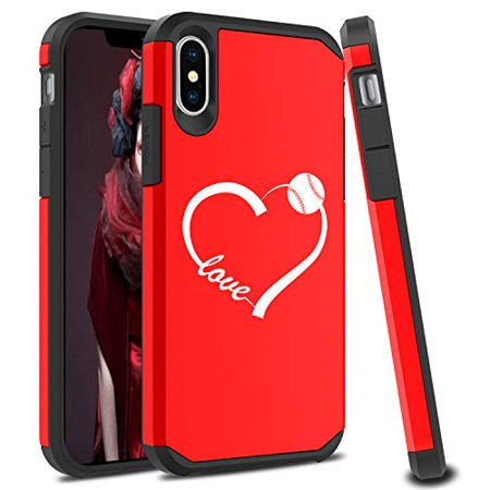 Love Protector Case (Shockproof SI Impact Hard Soft Case Cover Protector for Apple iPhone Love Heart Baseball Softball (Red, for Apple iPhone XR) )