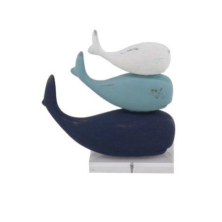 Decmode Coastal Polystone Stacked Whales Sculpture Beach Decor, Blue
