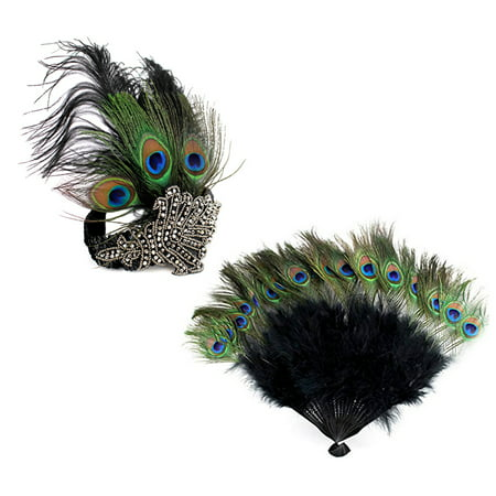 1920s' Vintage Accessories Costumes Set Peacock Rhinestone Headband n Peacock Feather Fan for Halloween Gatsby Theme Party - 5sos Halloween Theme
