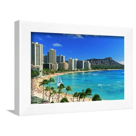 Palm trees on the beach, Diamond Head, Waikiki Beach, Oahu, Honolulu, Hawaii, USA Framed Print Wall Art By Panoramic