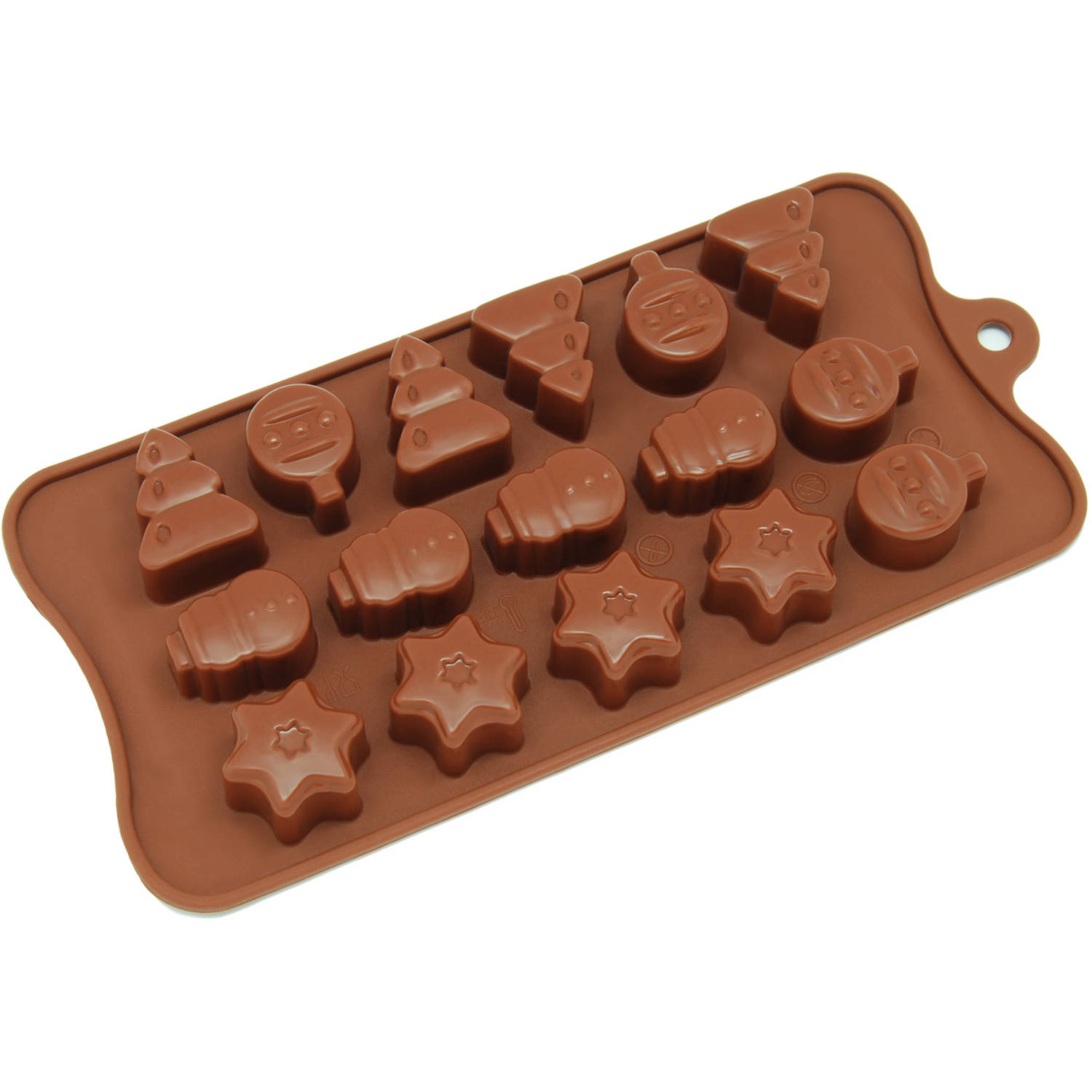Freshware 16-Cavity Christmas Tree, Ornament and Star Silicone Mold for Chocolate, Candy and Gummy, CB-604BR