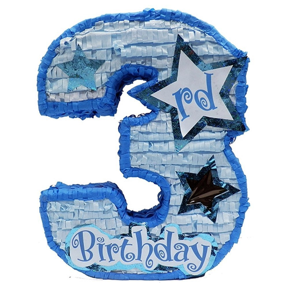 "Number Three Boys Third Birthday Pinata, 20"" Blue Party Game, Centerpiece Decoration and Photo Prop with Star Window and Shiny Accents"