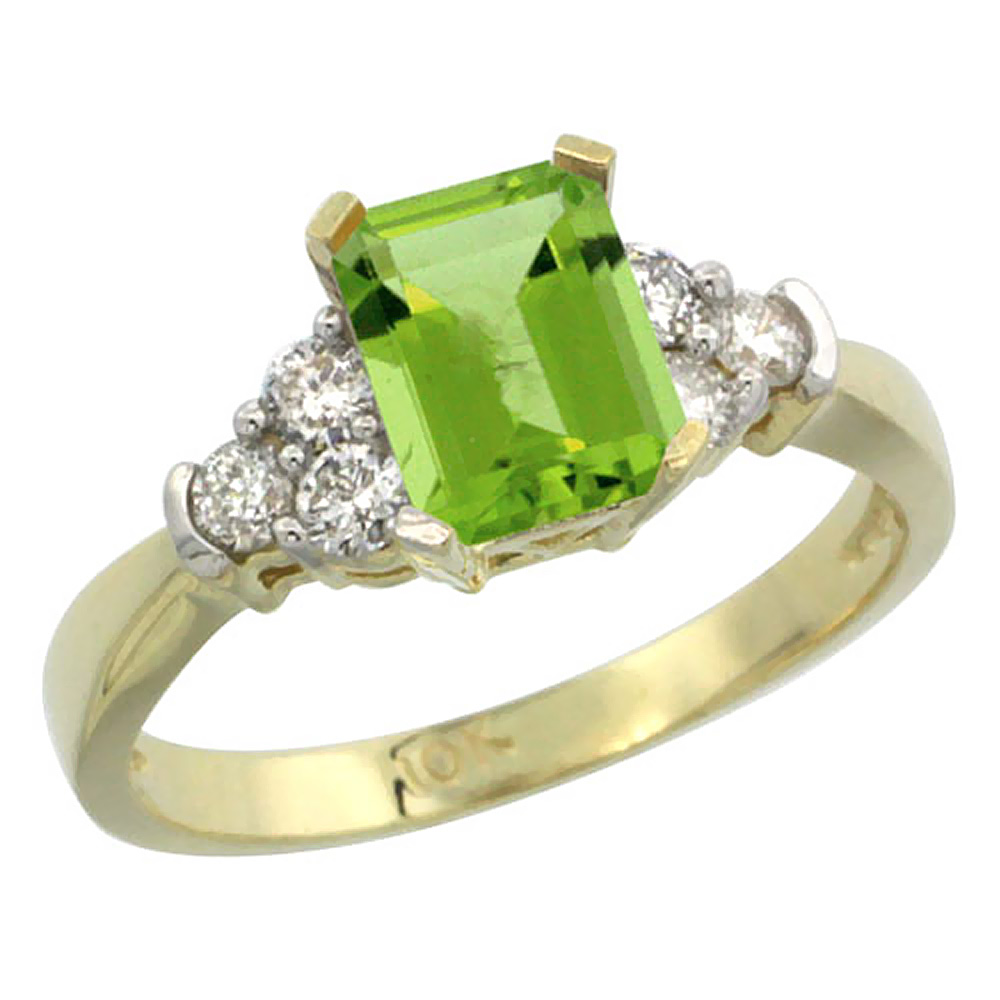 10K Yellow Gold Natural Peridot Ring Octagon 7x5mm Diamond Accent, sizes 5-10 by WorldJewels