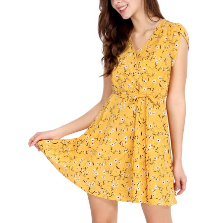 2635e7100517 Women Floral Crossover V Neck Petal Sleeves Flowy Dress w Belt Yellow XS -  image 7 ...