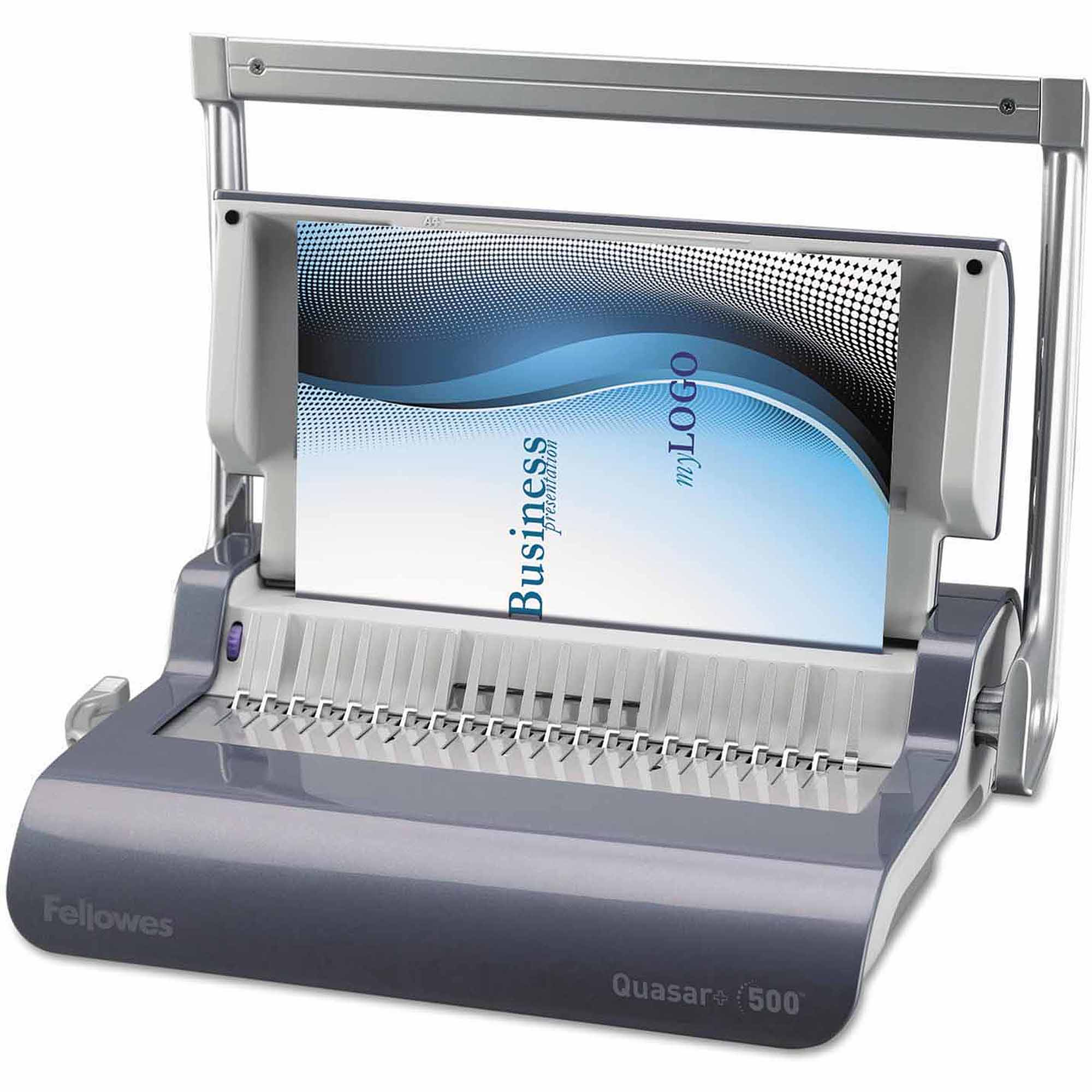 "Fellowes Quasar+ 500"" Manual Comb Binding Machine, 18-1/8"" x 15-3/8"" x 5-1/8"", Metallic Blue"