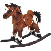 Qaba Kids Metal Plush Ride-On Rocking Horse Chair Toy with Realistic Sounds - Dark Brown/White, ?CLASSIC TOY WITH AUTHENTIC SOUNDS: Combines a.., By Visit the Qaba Store