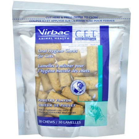 - Virbac C.E.T. Enzymatic Oral Hygiene Chews for Cats, Poultry Flavor, 30 Chews