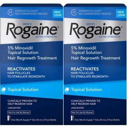 (2 Pack) Men's Rogaine Extra Strength 5% Minoxidil Solution, 1-Month Supply