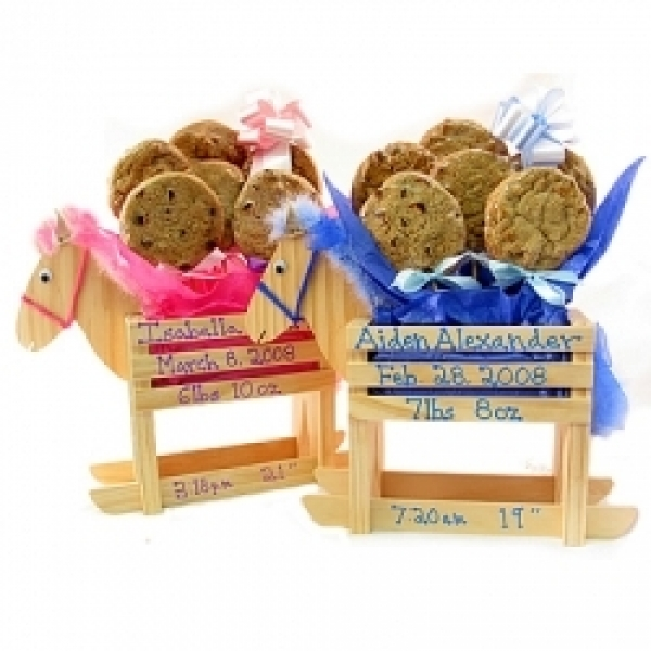 Baby Boy Or Girl Rocking Horse 6 Gourmet Cookie Bouquet by