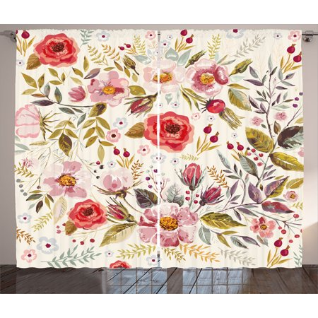 Floral Curtains 2 Panels Set, Hand Drawn Watercolor Style Flowers Roses Blooms Leaves Romantic Vintage Artwork, Window Drapes for Living Room Bedroom, 108W X 90L Inches, Multicolor, by Ambesonne