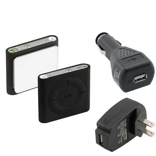 Insten Black Skin Case+Car+Black Travel Adapter Charger For iPod shuffle 4 4G 4th Gen
