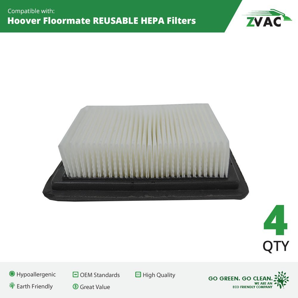 4 Pack ZVac Hoover Floormate Washable HEPA Filters | Similar to 40112050