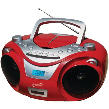 Supersonic SC-709 Portable MP3 and CD Player with Cassette Recorder and AM FM Radio by