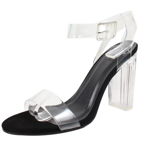 c614b9f834 Delicious - Delicious Women's Cinderella Clear Ankle Straps Perspex Lucite  Clear Block Heel Sandal (Black, 11 B(M) US) - Walmart.com