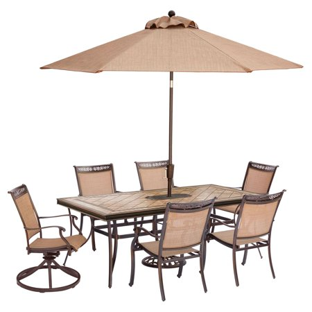 Hanover Fontana 7-Piece Outdoor Dining Set with 4 Stationary Chairs, 2  Swivel Rockers, Tile-Top Table, Umbrella and Stand