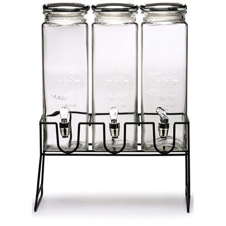 Circleware Triple Xl Tall Yorkshire Beverage Dispensers W/ Black Lids -Black Metal Stand 0.5 Gal/ 2.3L (Trifle Stand)