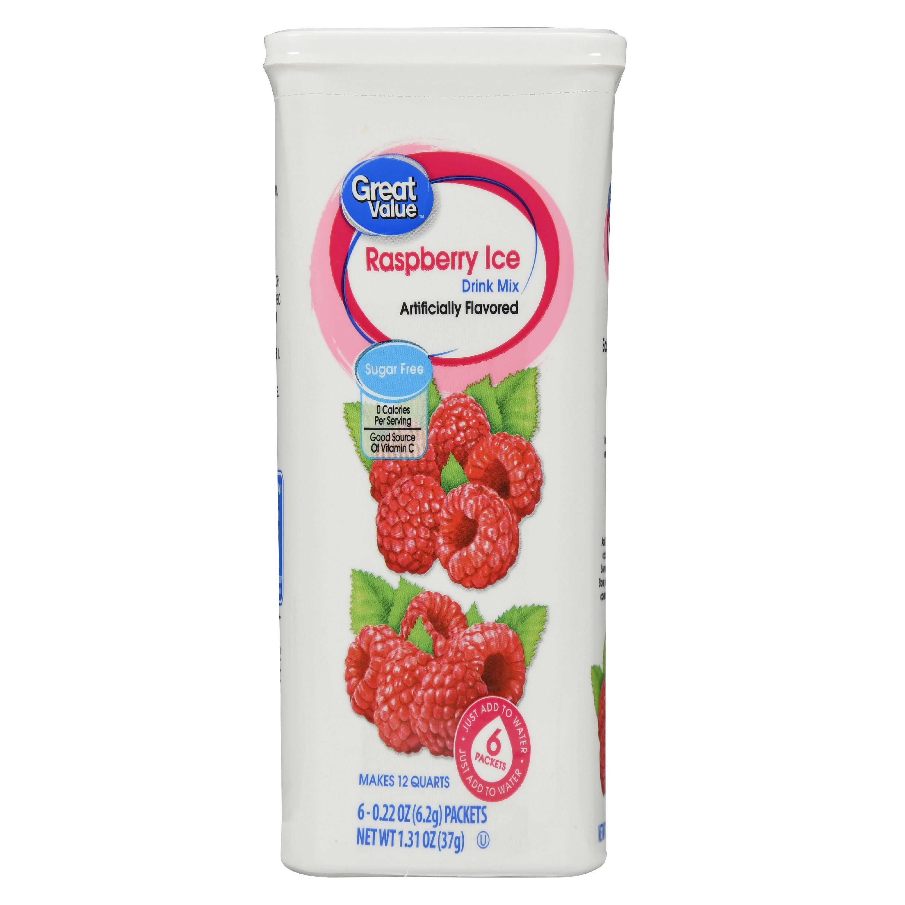 Great Value Drink Mix, Raspberry Ice, Sugar-Free, 1.31 oz, 6 Count