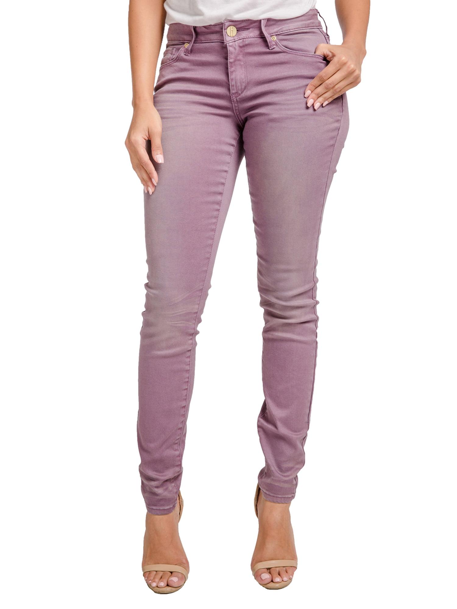 Miss Halladay Womens Plum Color Denim 5 Pocket Skinny Jeans Sand Blasted Wash
