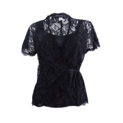 Sutton Studio Womens Black 2 Piece Blouse Tie Lace Wrap & Tank Set Misses