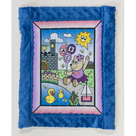 Toddler quilt kit, Girl Bear w/ blue minkee back 30