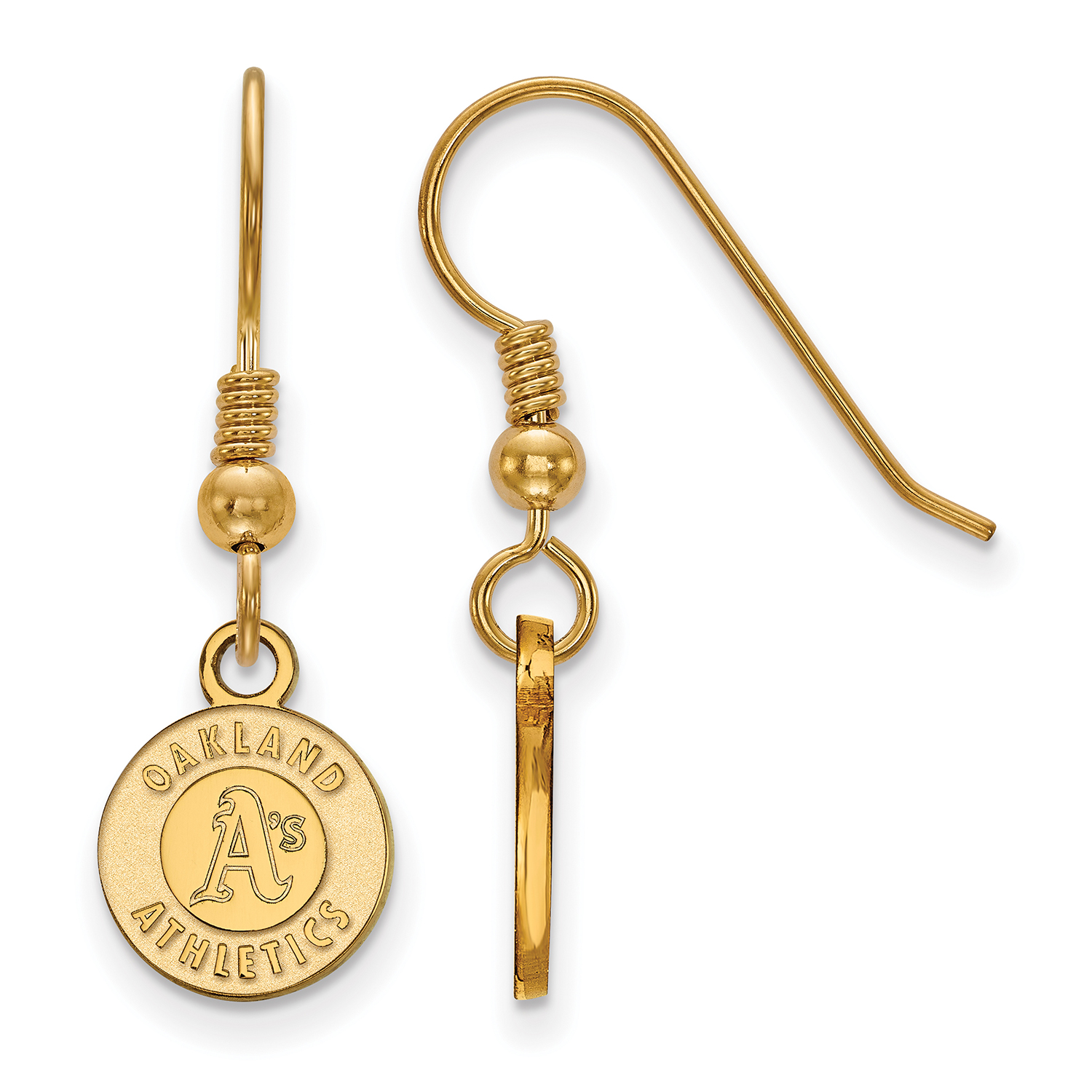 Oakland Athletics Women's Gold-Plated Sterling Silver Extra-Small Dangle Earrings - No Size