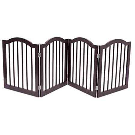 Internet's Best Pet Gate with Arched Top | 4 Panel | 24 Inch Step Over Fence | Free Standing Folding Z Shape Indoor Doorway Hall Stairs Dog Puppy Gate | Fully Assembled | Espresso |