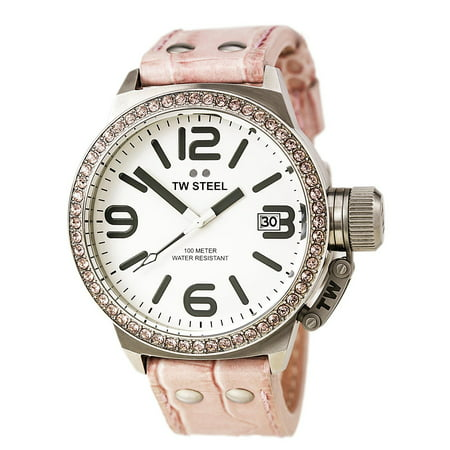 TW36 Women's Canteen White Dial Pink Leather Strap Swarovski Crystal (Crystal White Leather)