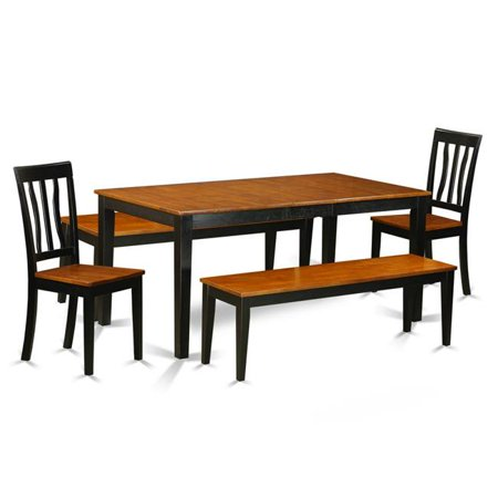 Terrific Nian5N Bch W 5 Pc Dining Room Set With Bench Kitchen Tables And 2 Dining Wood Seat Chairs Plus 2 Bench Finish Black Gmtry Best Dining Table And Chair Ideas Images Gmtryco