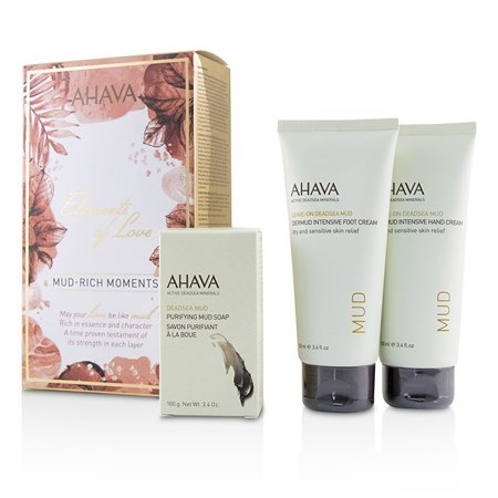 Ahava Elements Of Love Mud-Rich Moments Gift Set: Hand Cream 100ml + Foot Cream 100ml + Purifying Mud Soap 100g 3pcs -