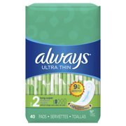 Always Ultra Thin Super Pads, Wingless, Unscented, Size 2, 40 Ct