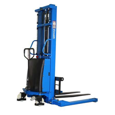Hand Pallet Lift - Eoslift S15J 3,300 lbs. 118 in. Raised Height Semi-Electric Straddle Stacker Pallet Truck