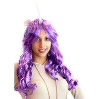 Deluxe Unicorn Costume Wig With Ears Adult: Purple/Generosity One Size Fits Most