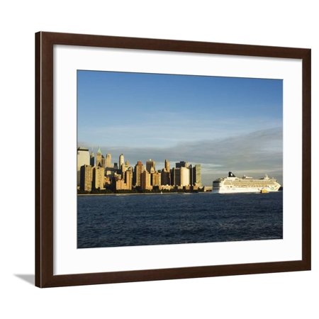Lower Manhattan Skyline and Cruise Ship Across the Hudson River, New York City, New York, USA Framed Print Wall Art By Amanda (Best River Cruises In Usa)