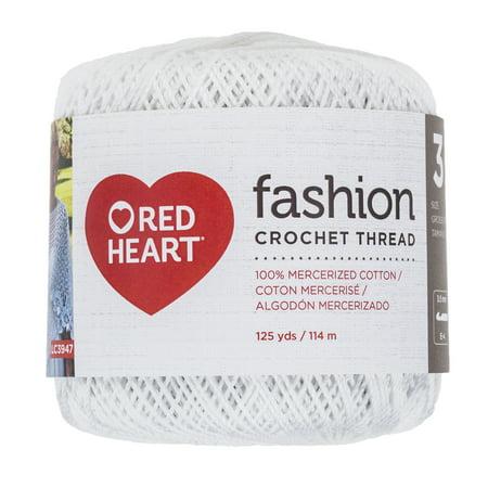 Cotton Yarn Crochet Thread (Red Heart Fashion Cotton Size 3 White Yarn, 1 Each )