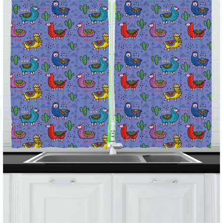 Llama Curtains 2 Panels Set, Cartoon Style Furry Animals with Mexican Folk Details Triangle and Cactus Kids Design, Window Drapes for Living Room Bedroom, 55W X 39L Inches, Multicolor, by Ambesonne