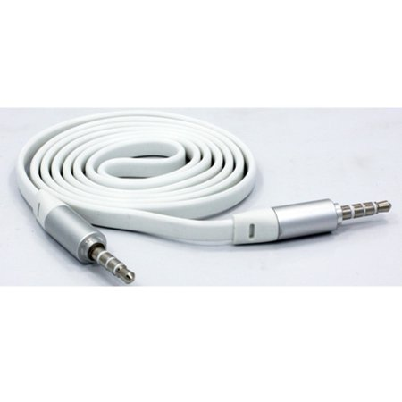 White Flat Aux Cable Car Stereo Wire Audio Speaker Cord 3.5mm Aux-in Adapter Auxiliary [Tangle Free] Compatible With iPad 9.7 4 3 2 L6A