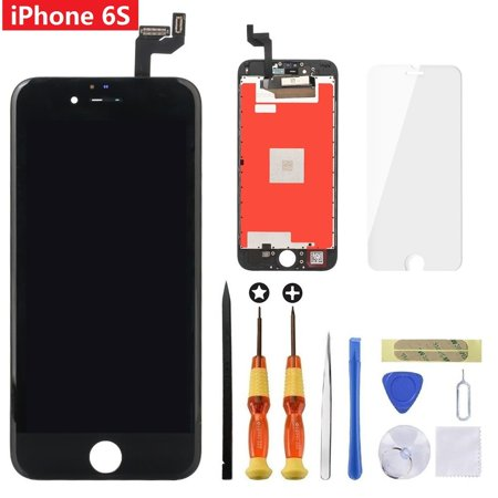 Touch Lcd Screens - iPhone 6s Black 4.7 inch Retina LCD Screen Replacement 3D Touch Digitizer Frame Assembly with Tempered Glass Screen Protector + Repair Tools