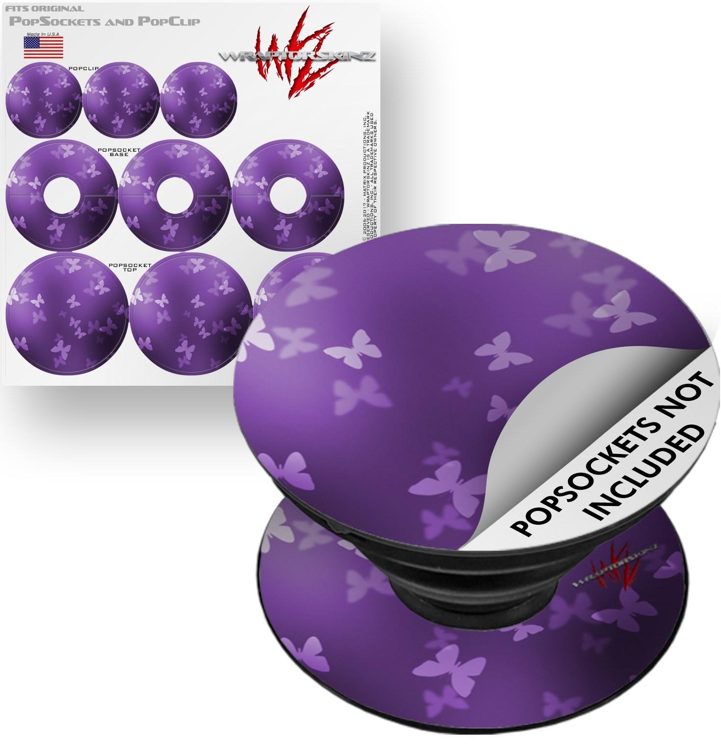 Decal Style Vinyl Skin Wrap 3 Pack for PopSockets Bokeh Butterflies Purple (POPSOCKET NOT INCLUDED) by WraptorSkinz