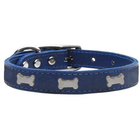 Silver Bone Widget Genuine Leather Dog Collar Blue 12