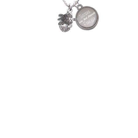 Silvertone 2-D Sea Turtle Spinner Sisters Are Best Friends Forever Engraved Necklace 1 Fan Spinner Necklace